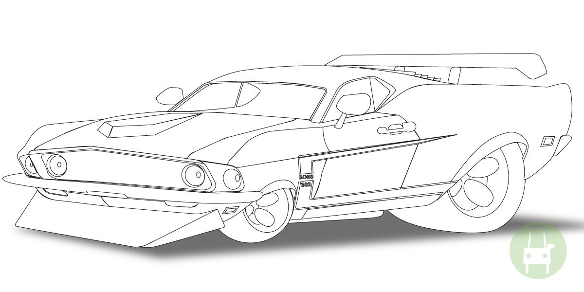 69 Mustang my car fun artwork
